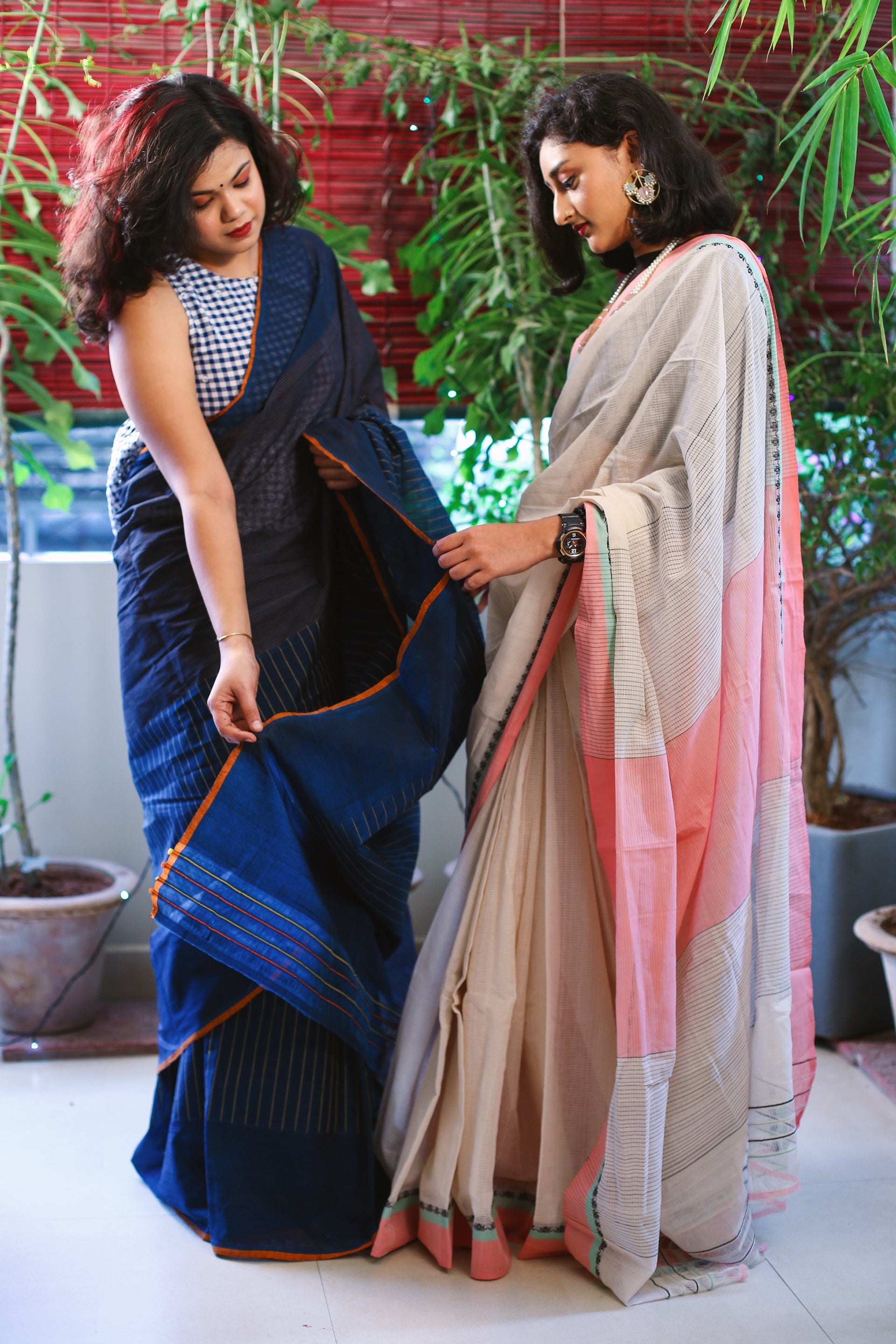 Godavari Cotton Saree with a Lotus Border - Offwhite and Peach