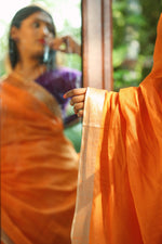 Bhagalpur Slub Plain Saree - Orange