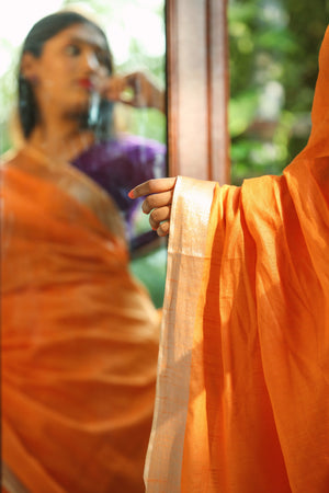 Bhagalpur Slub Cotton Saree- Orange