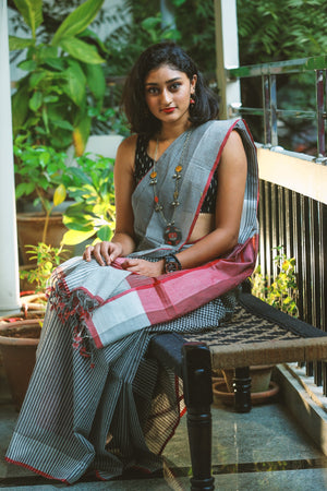 Godavari Cotton Saree in Fine Checks - Black and White with Red border