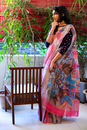 Pure Linen Digital Floral Saree - Pink with Grey, Blue Print