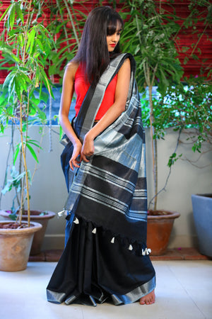 Bhagalpur Slub Cotton Saree (Black)