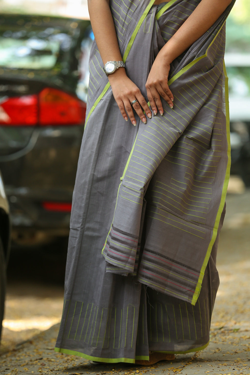 Godavari Cotton- Thread Work- Grey & Lime Green