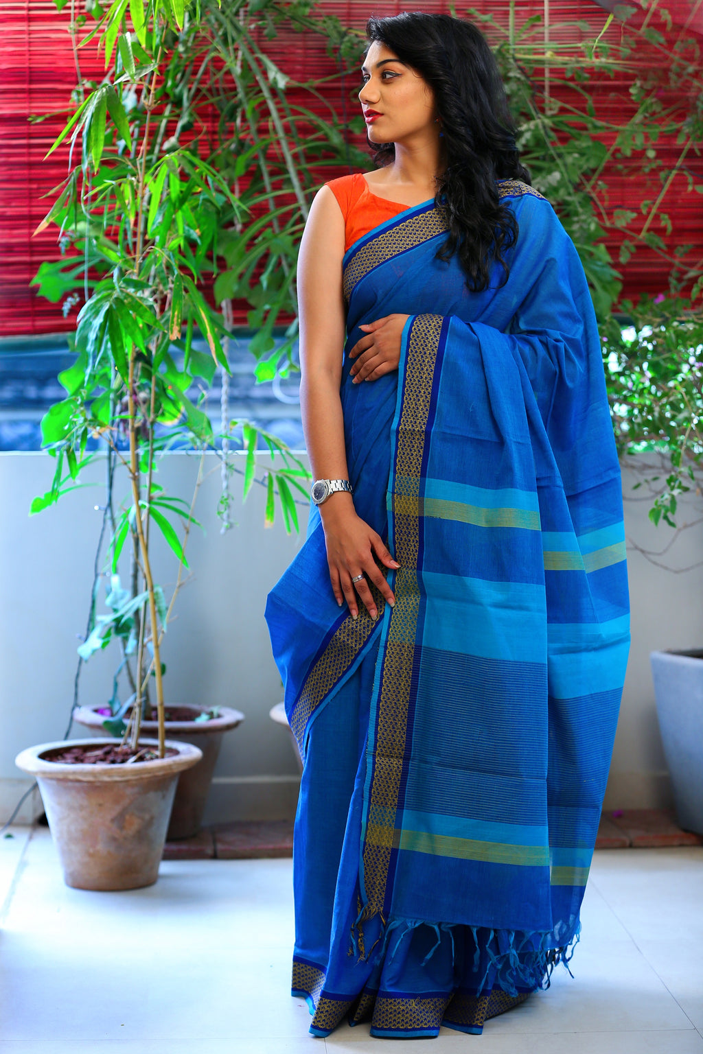 Godavari Cotton- Woven Border-Blue
