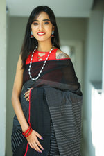 Godavari Cotton Saree- Thread Border- Black & White