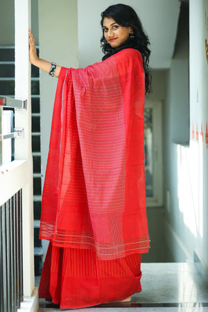 Godavari Cotton- Thread Border-Red & White