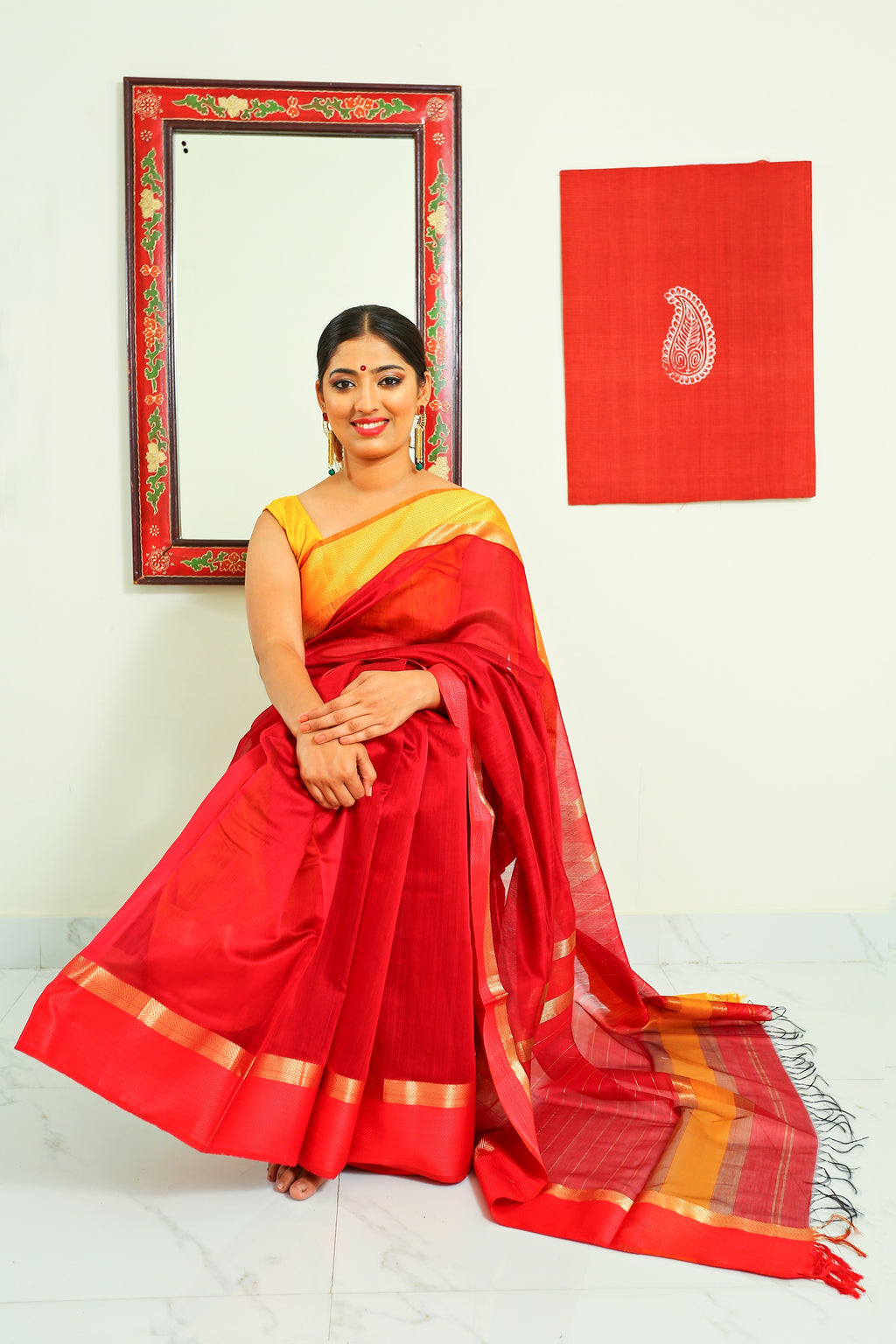 Maheshwari Silk Cotton Saree with Ganga Jamuna Border - Red