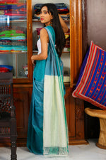 Mangalagiri Silk By Cotton Saree - Bottlegreen and Offwhite