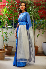 Mangalagiri Silk by Cotton Saree - Navy Blue and Offwhite