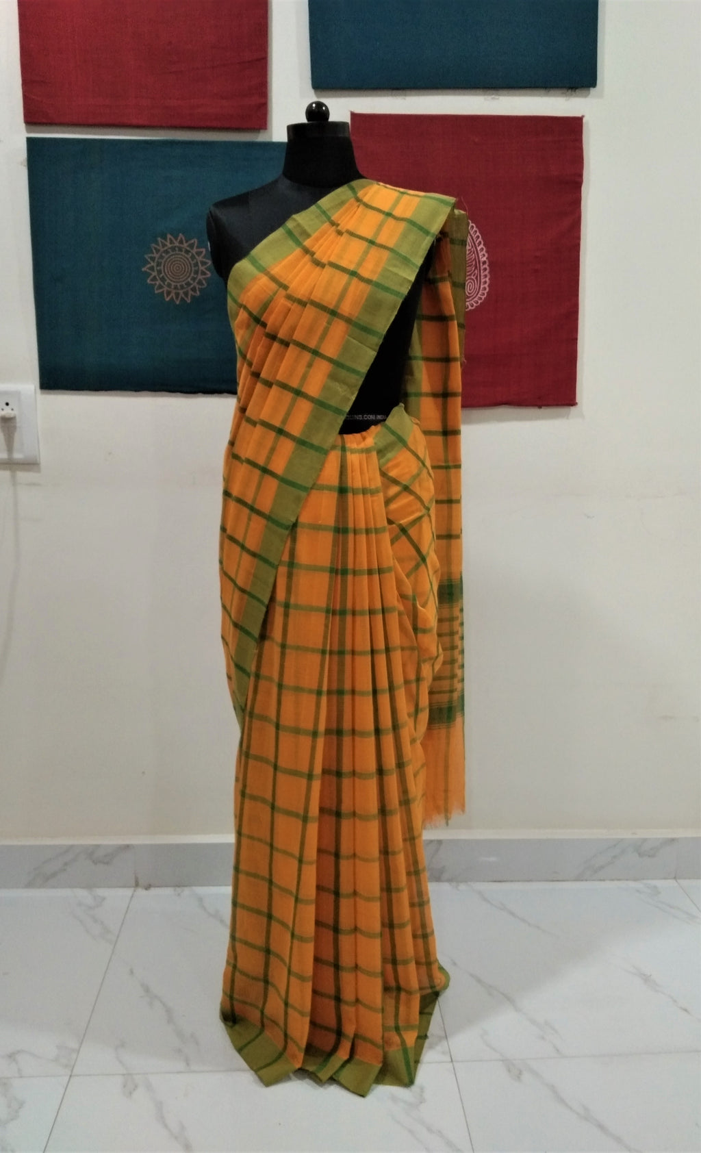 Bobbili Cotton Saree in Checks - Mango Yellow & Green