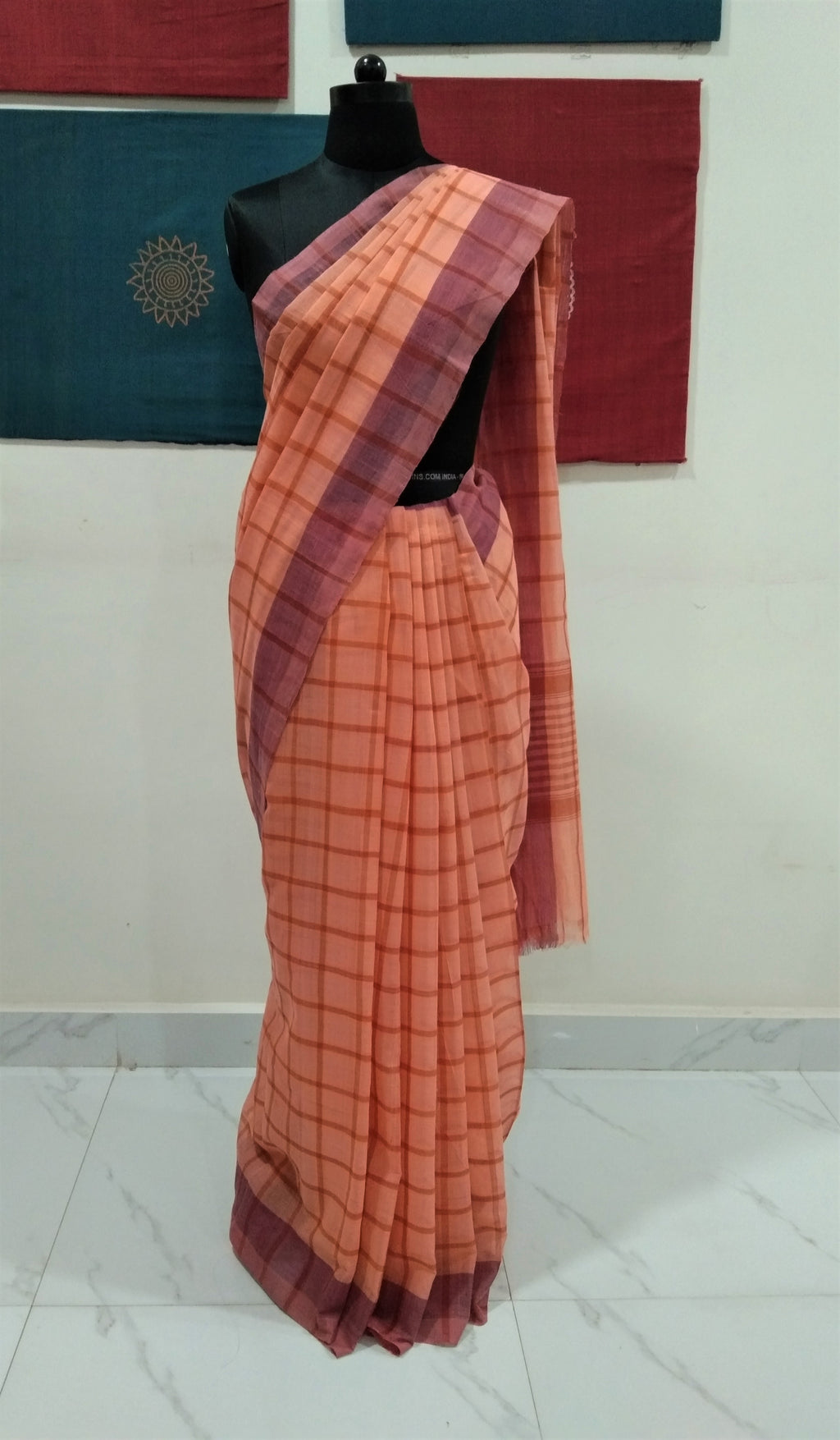 Bobbili Cotton Saree in Checks - Peach & Brown