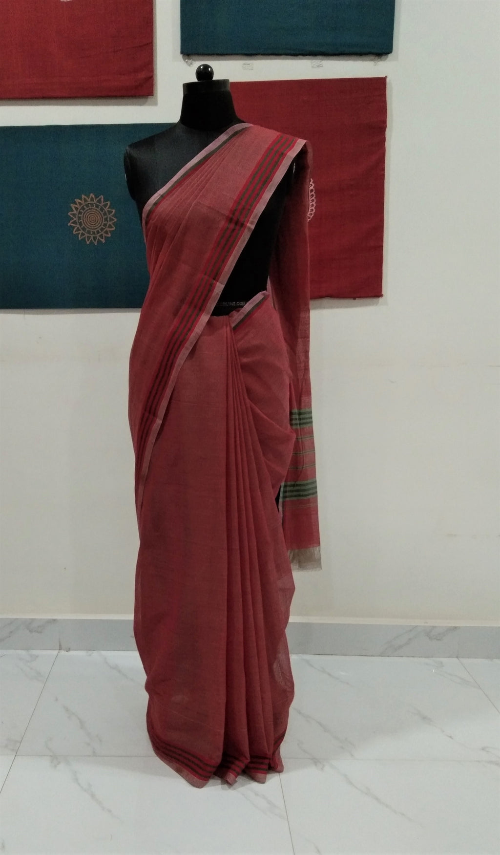 Bobbili Cotton Saree (Solid) - Maroon