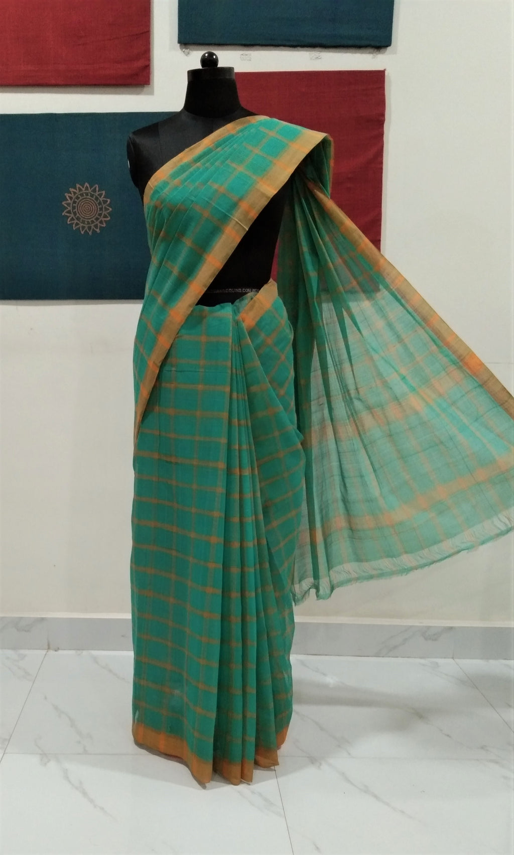 Bobbili Cotton Saree (Solid) - Jade Green/Yellow