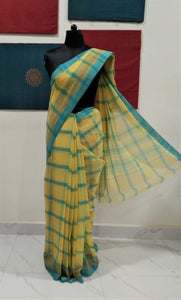 Bobbili Cotton Saree (Solid) - Lemon Yellow/Blue