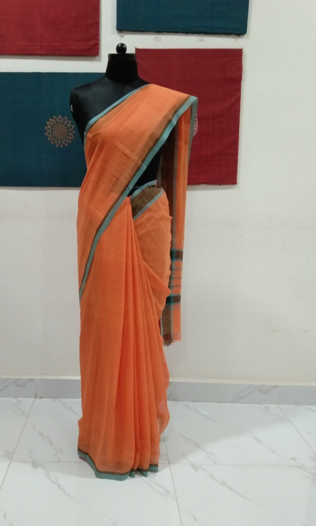 Bobbili Cotton Saree (Solid) - Musk Melon/Teal