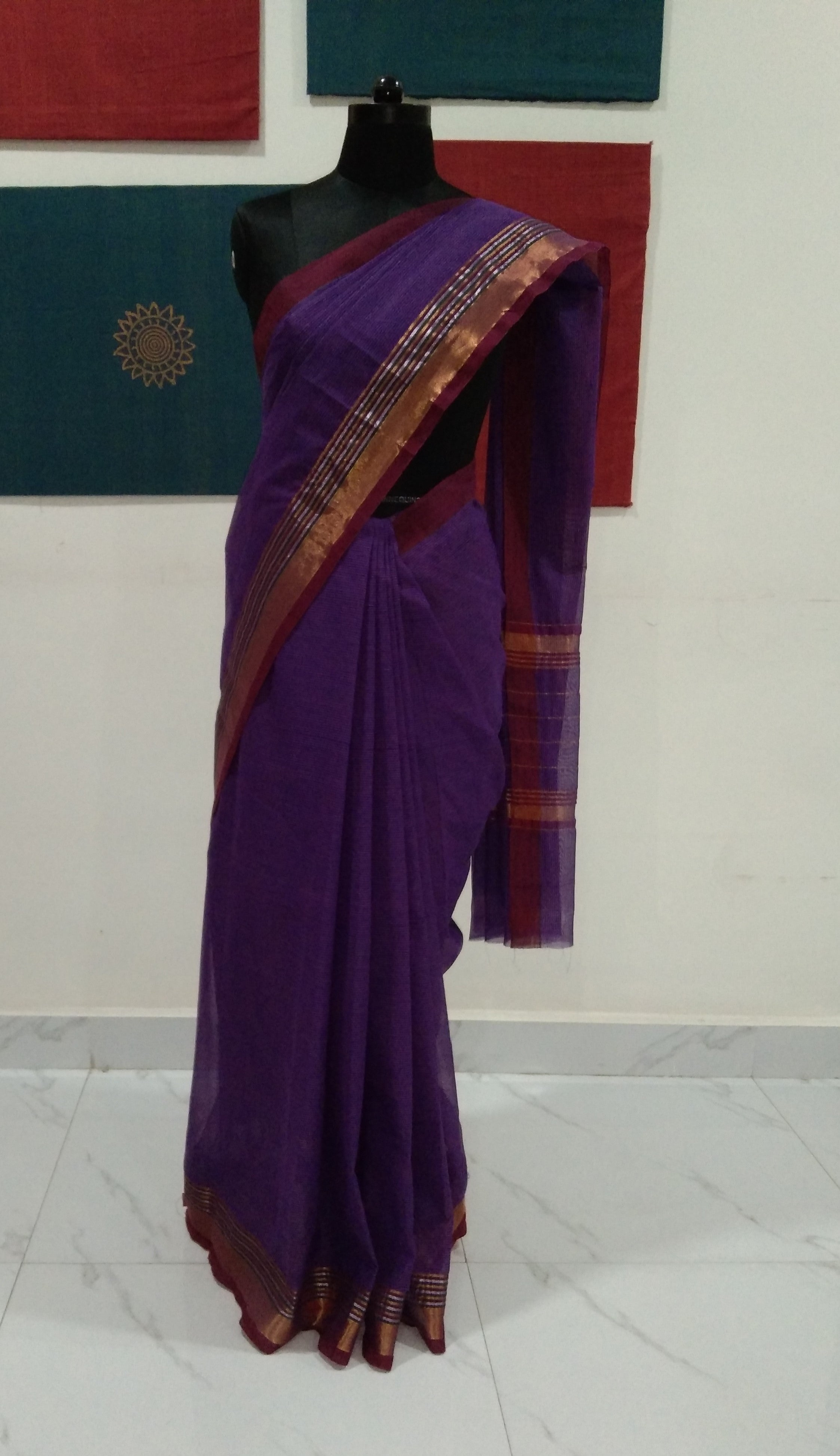 Venkatagiri Cotton (Plain) - Violet with Stripes