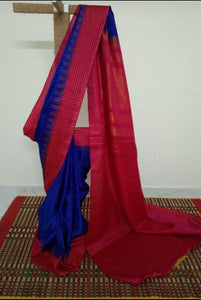 Blue Pure Silk Gadwal with Pink Kuttu Border