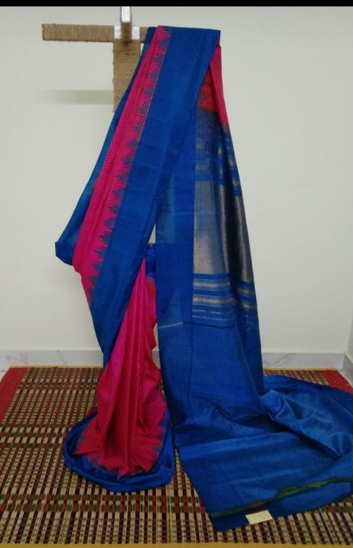 Pink Pure Silk Gadwal Saree with Blue Kuttu Border