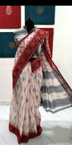 Siddipet Ikat Saree - Offwhite/Maroon
