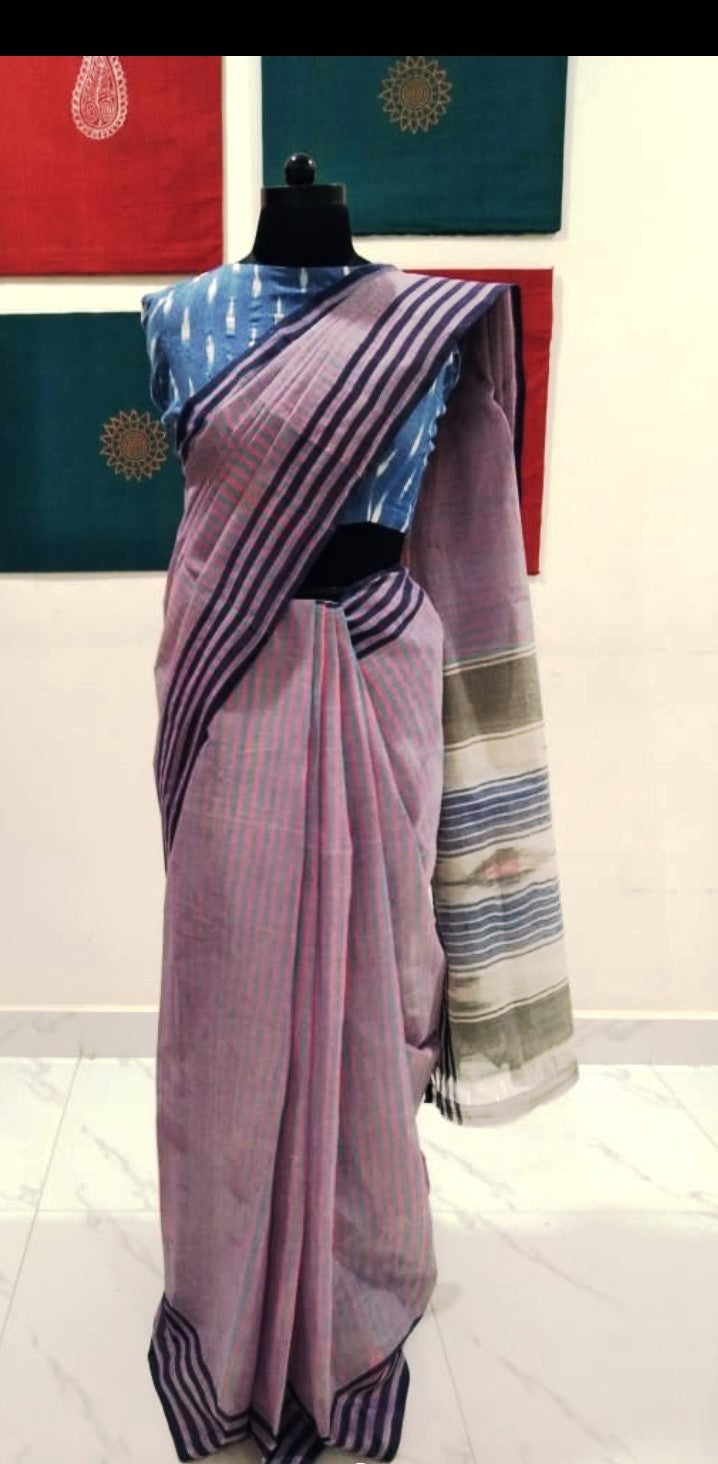 Siddipet Ikat Saree with Stripes - Pink & Blue
