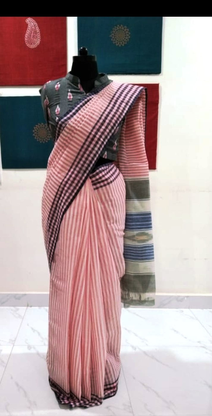 Siddipet Ikat Saree with Stripes - Offwhite & Pink