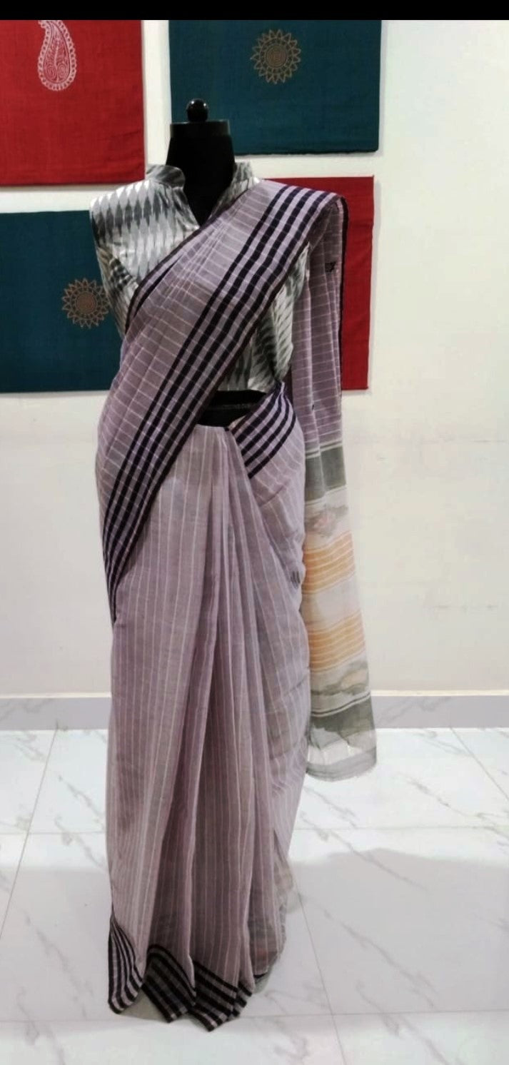 Siddipet Ikat Saree with Stripes - Light Purple & Purple