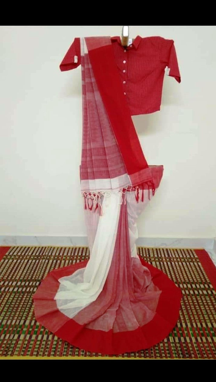 Phulia Cotton Saree with Woven Border - White/Red
