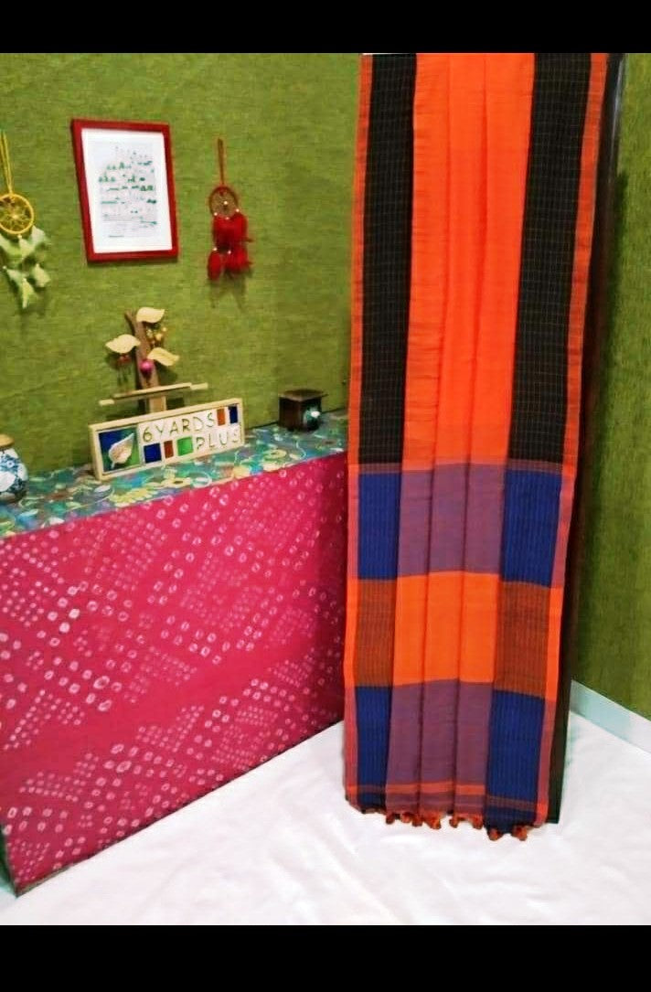 Phulia Cotton Saree with Checks and Sawtooth Border - Orange/Black