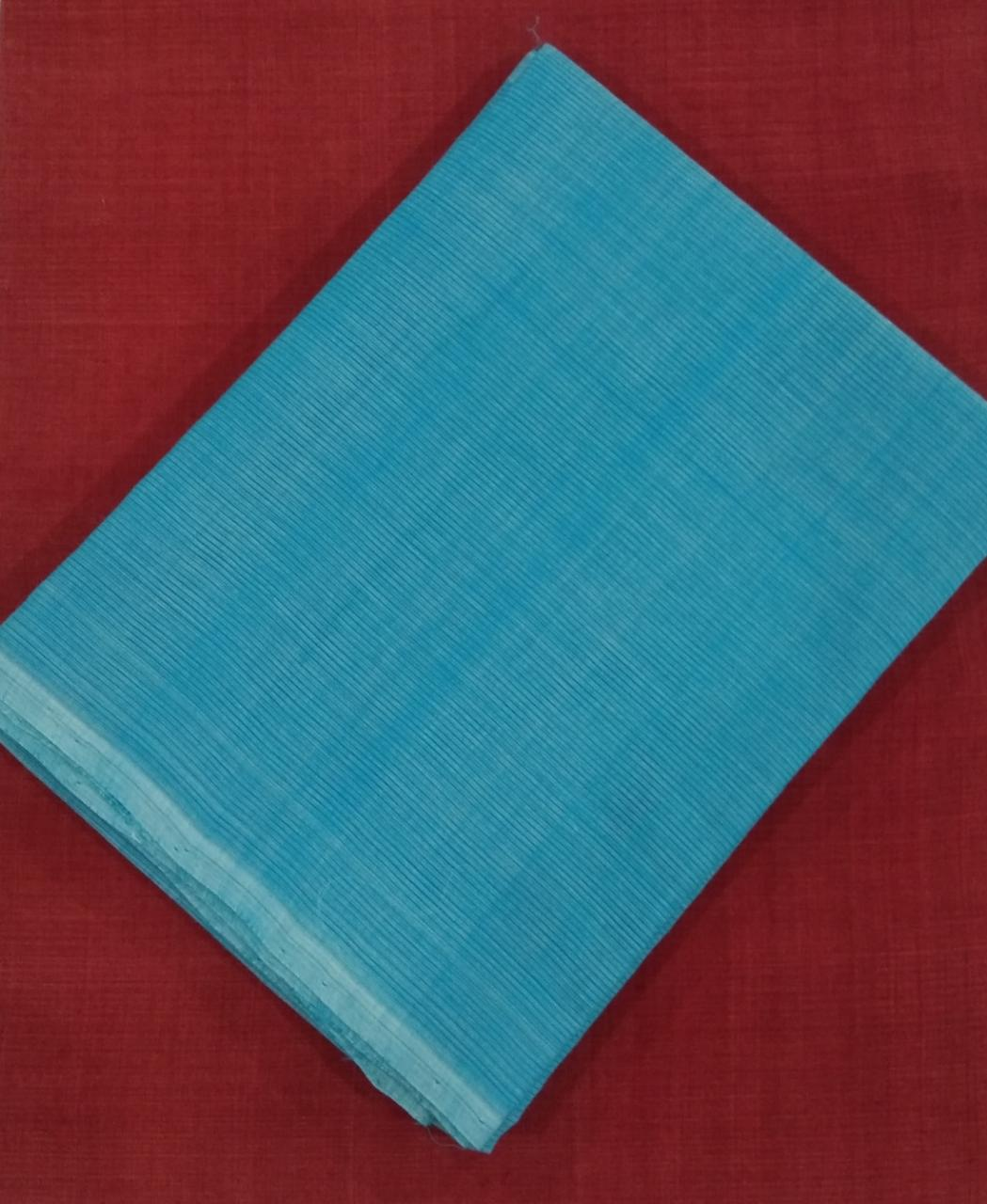 Summer Breeze Mangalagiri Cotton Saree - Sky Blue