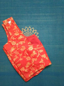Blouse - Brocade - Art Silk - Red