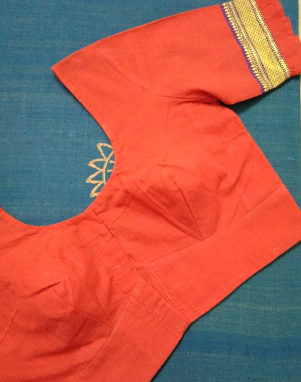 Blouse - Handloom - Mangalagiri Cotton - Orange Ruffle