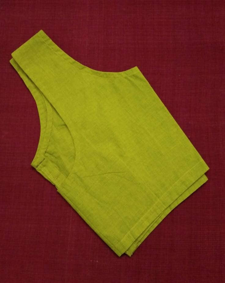 Blouse - Handloom - Mangalagiri Cotton - Lime Green