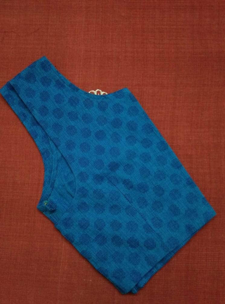 Blouse - Jacquard - Cotton - Blue checkered