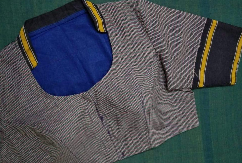 Blouse - Udupi - Silk Cotton - Blue Checkered