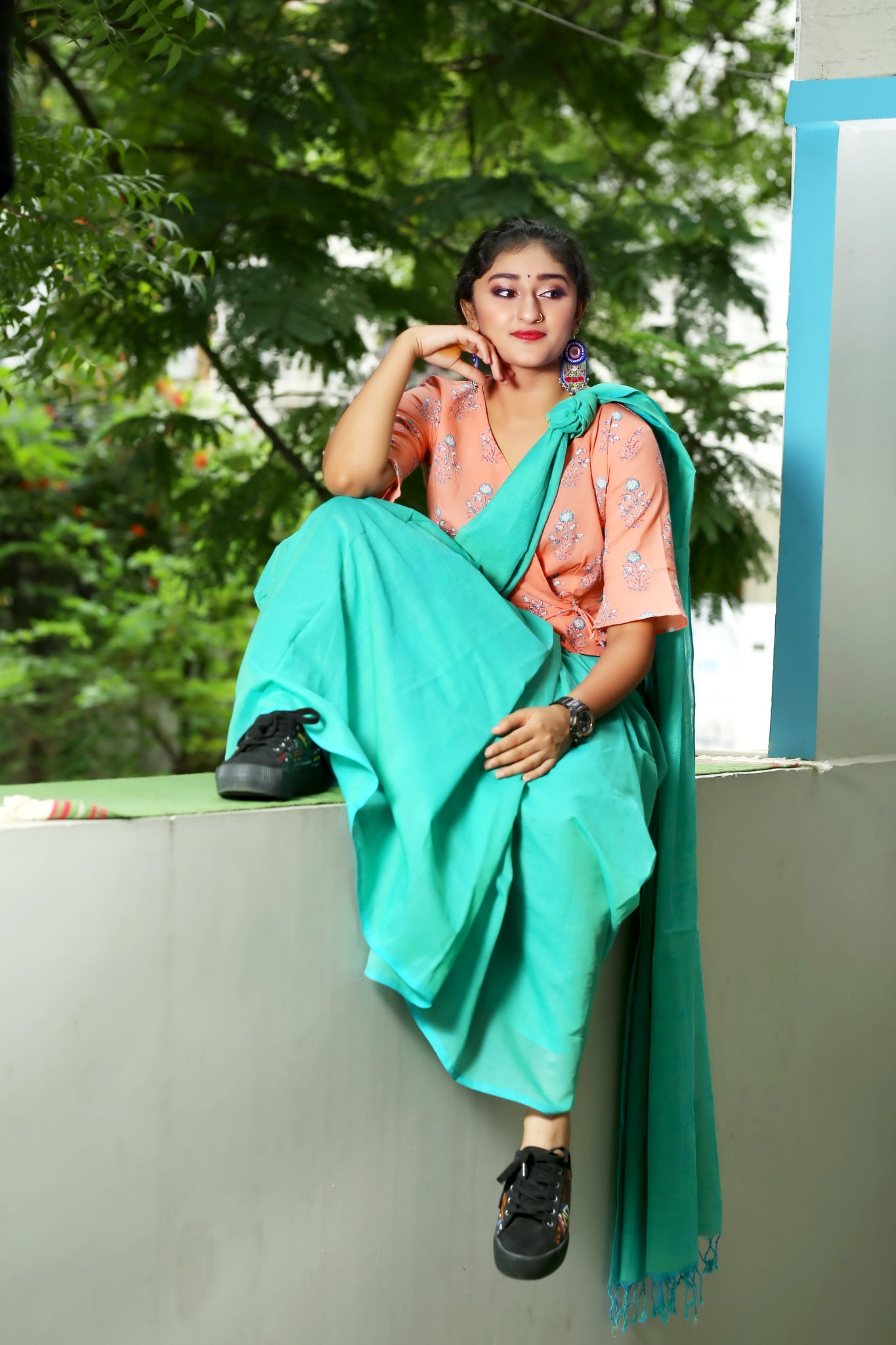 Summer Breeze- Mangalagiri Cotton Saree- Green & Blue