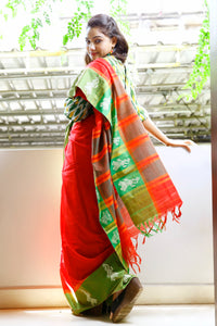 Red Cotton Saree with Gollabhama motif on Green Border
