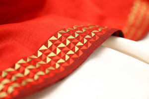 SYP Signature - Maheshwari Karvat Border Saree - Red