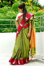 Green Cotton Saree with Gollabhama motif on Purple Border