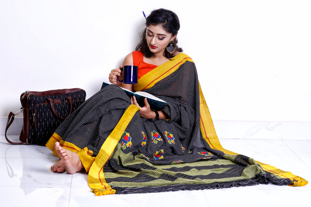 Patteda Anchu with Kalamkari Lotus patches on Pallu - Black