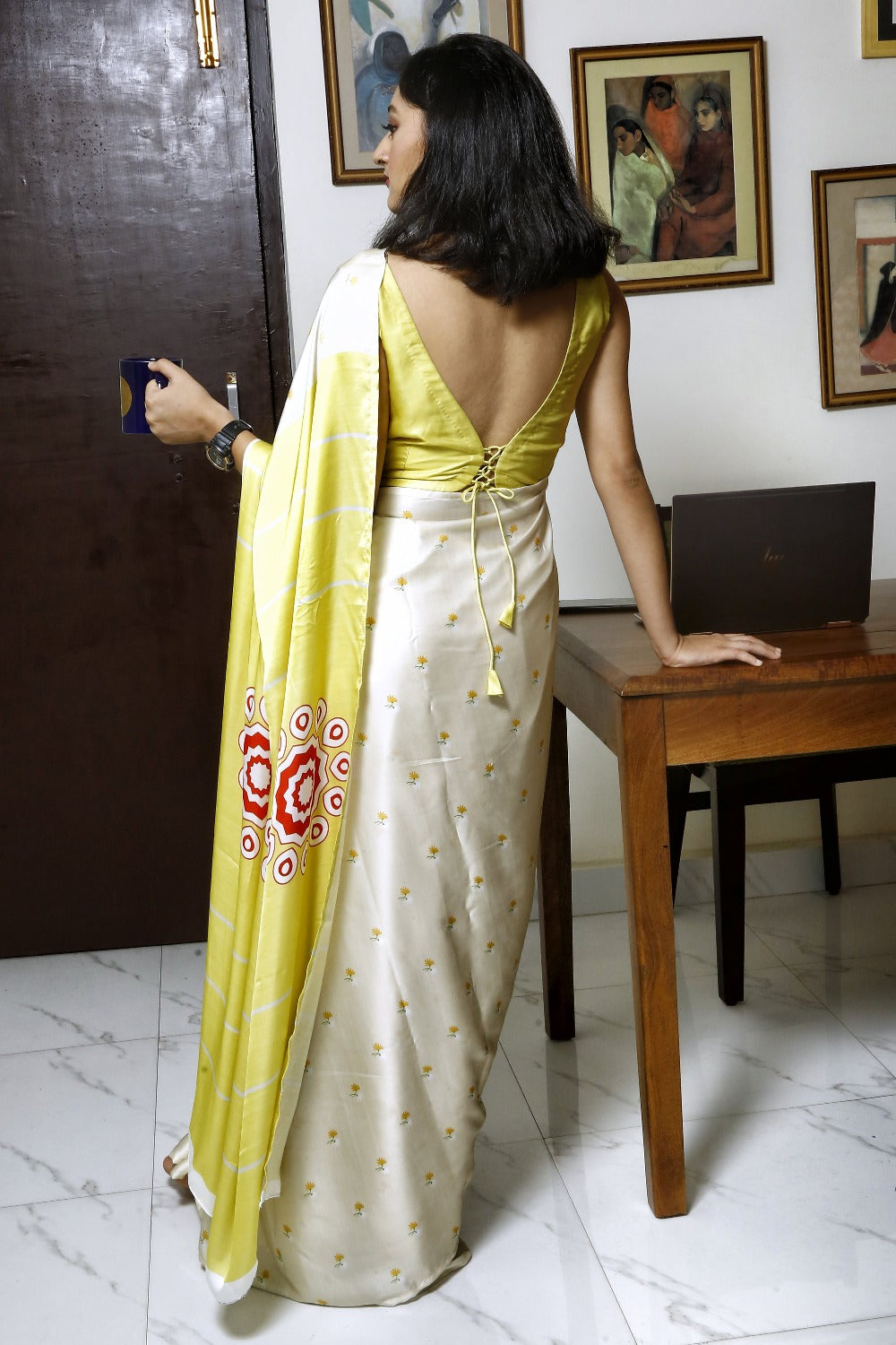 Eco Friendly Liva Satin Saree with Digital Print - CHAMANTHI (Cream)