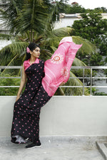 Eco Friendly Liva Satin Saree with Digital Print - BOUGAINVILLEA (Black)