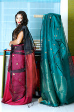 Art Silk Organza Saree - Purple / Black