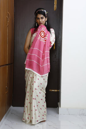 Eco Friendly Liva Satin Saree with Digital Print - BOUGAINVILLEA (White)