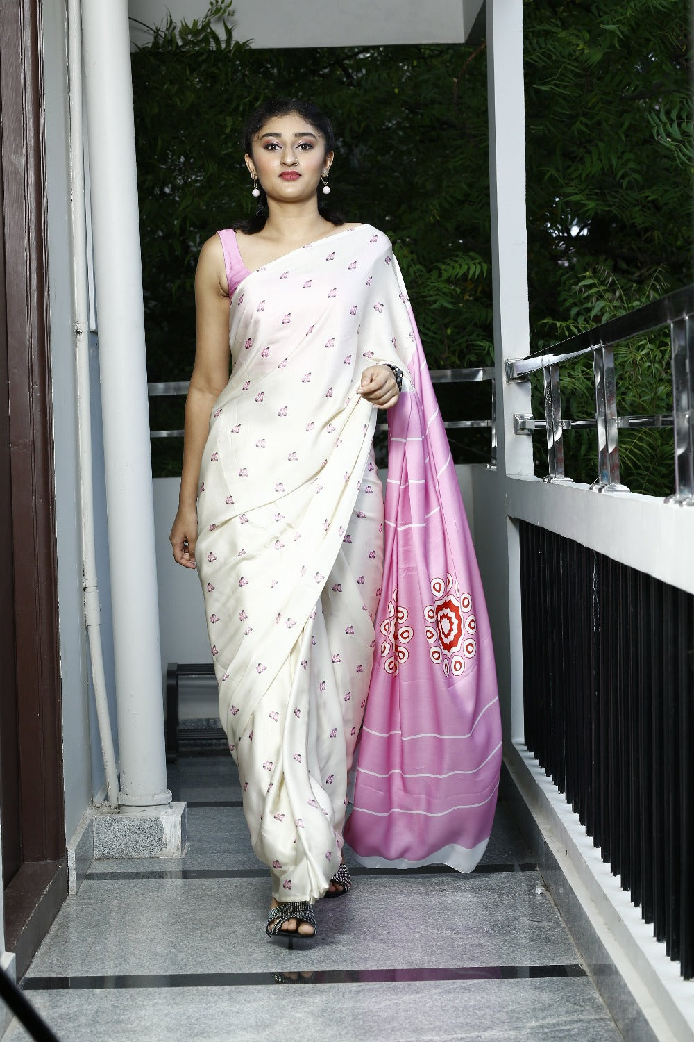 Eco Friendly Liva Satin Saree with Digital Print - SADAPHULI (White)