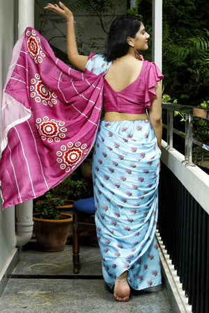 Eco Friendly Liva Satin Saree with Digital Print - RADHAMANOHARAM (Blue)