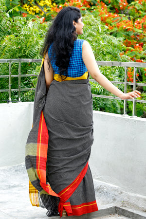Patteda Anchu with Kalamkari Elephant patch - Black