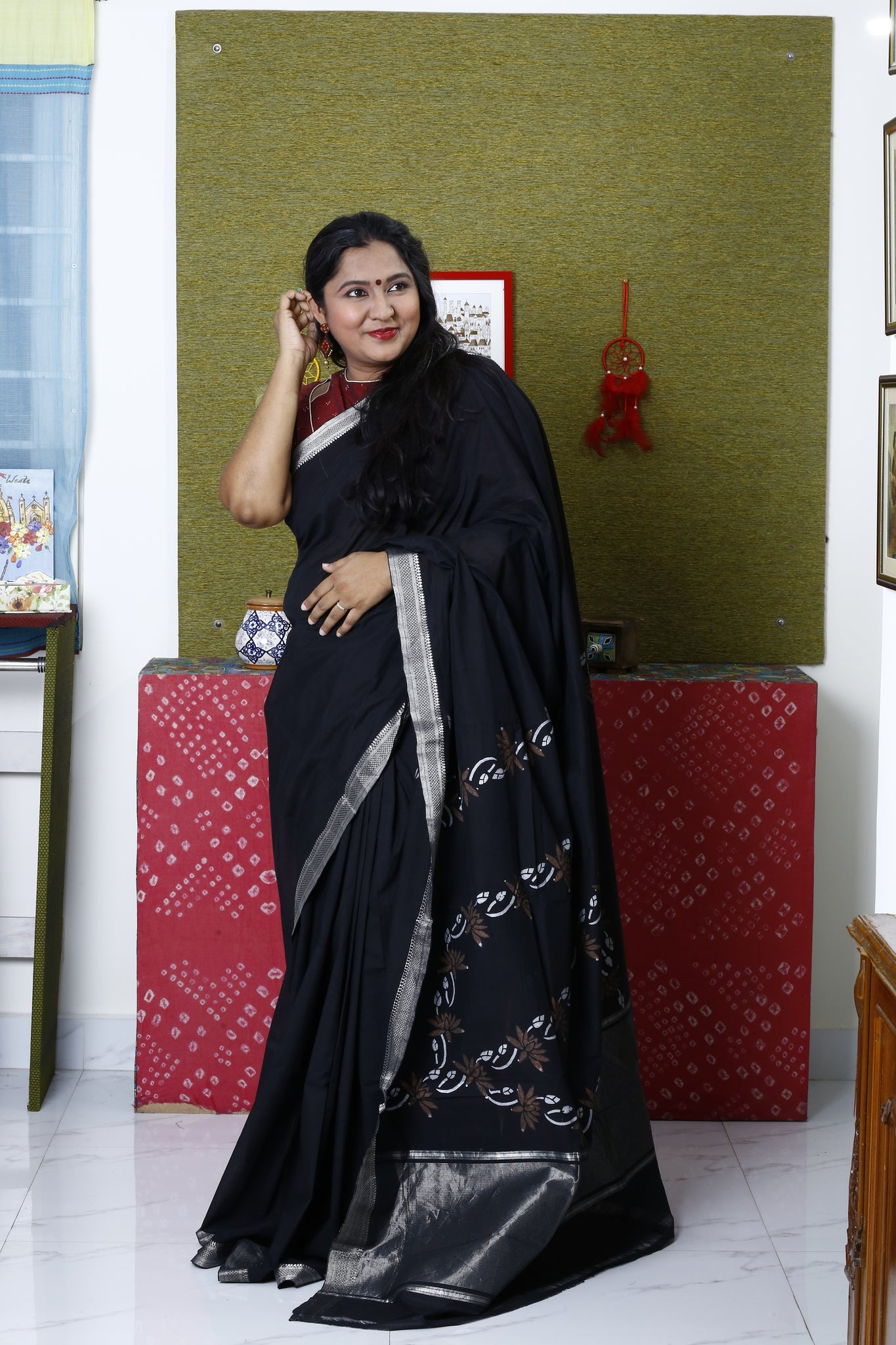 Mangalagiri Cotton Hand Block Printed Saree (Black) with Copper Lotus Motif