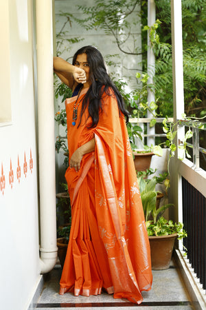 Mangalagiri Cotton Hand Block Printed Saree (Orange) with Copper Lotus Motif