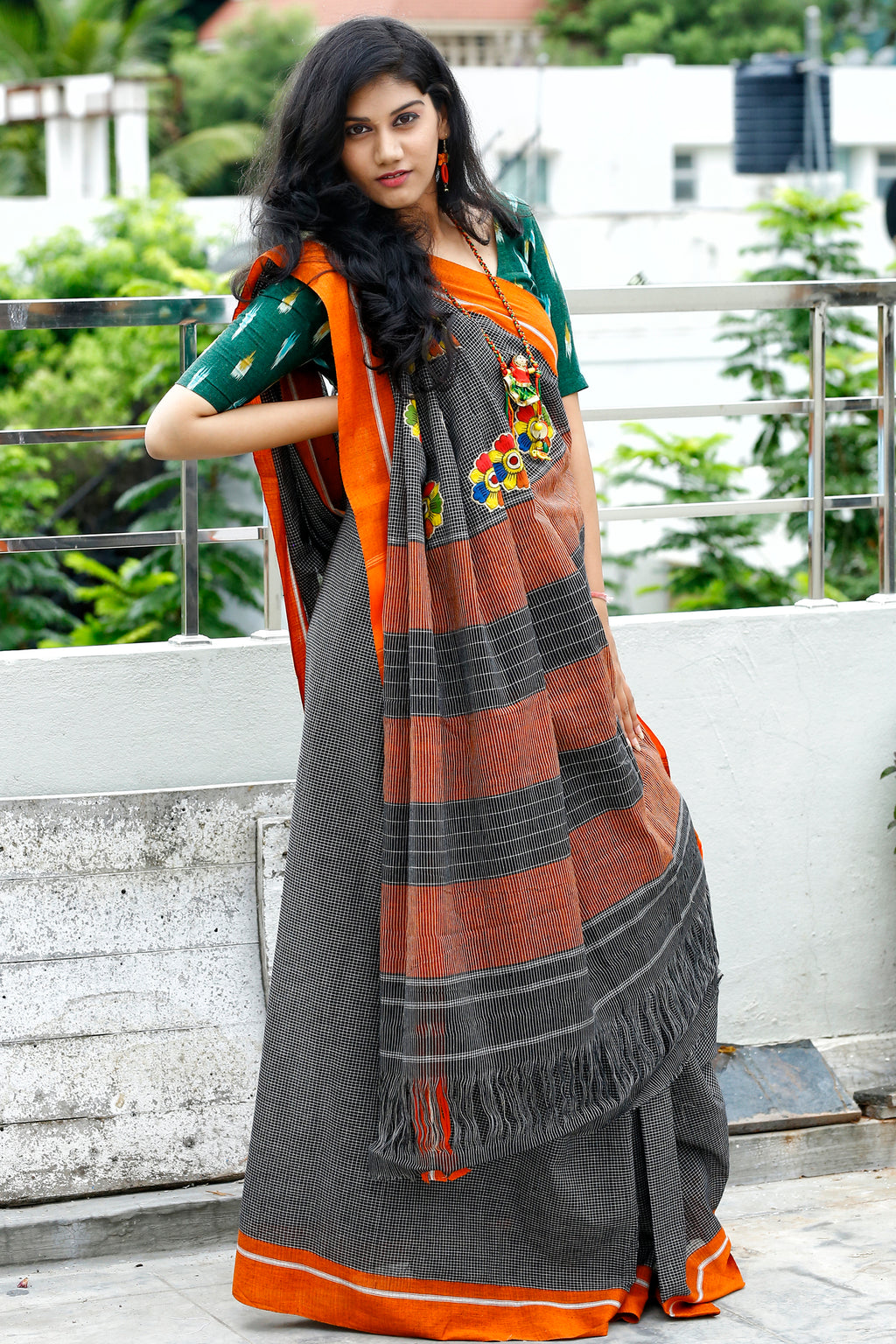 Patteda Anchu with Kalamkari Flower Pallu Patch and Orange Border - Black