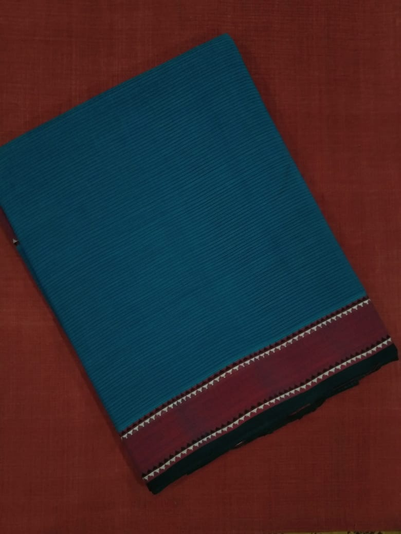 Godavari Cotton Saree- Flag Border- Blue
